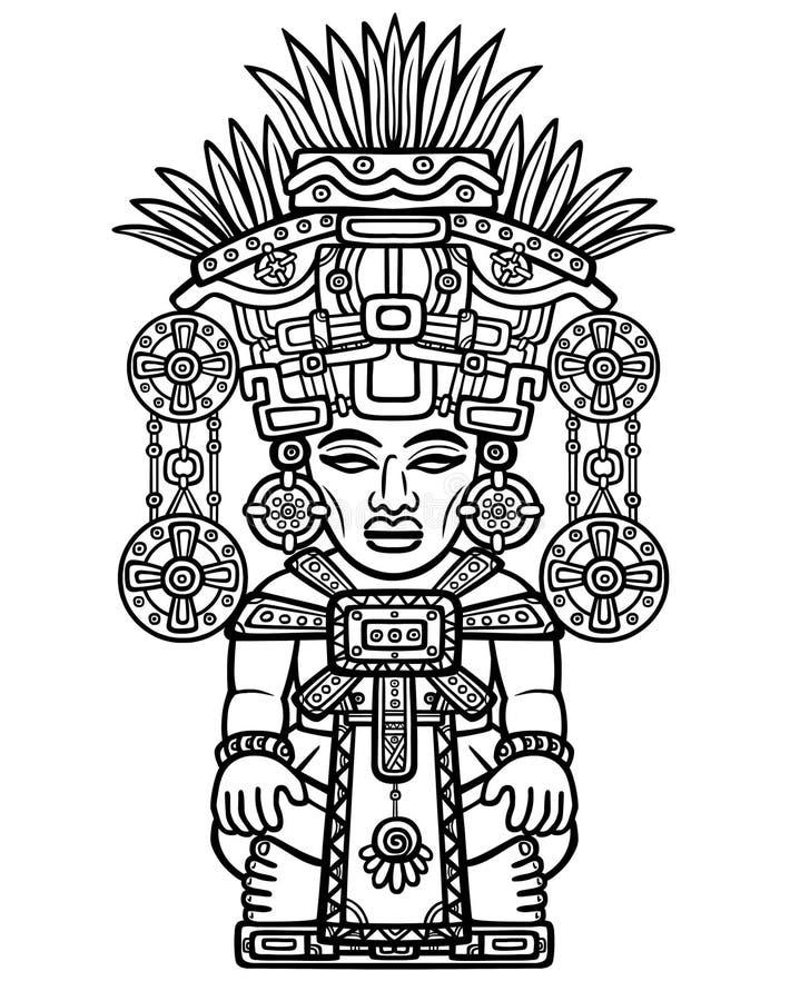 线性图画:印地安神的装饰图象 印地安人玛雅人艺术动机  库存例证