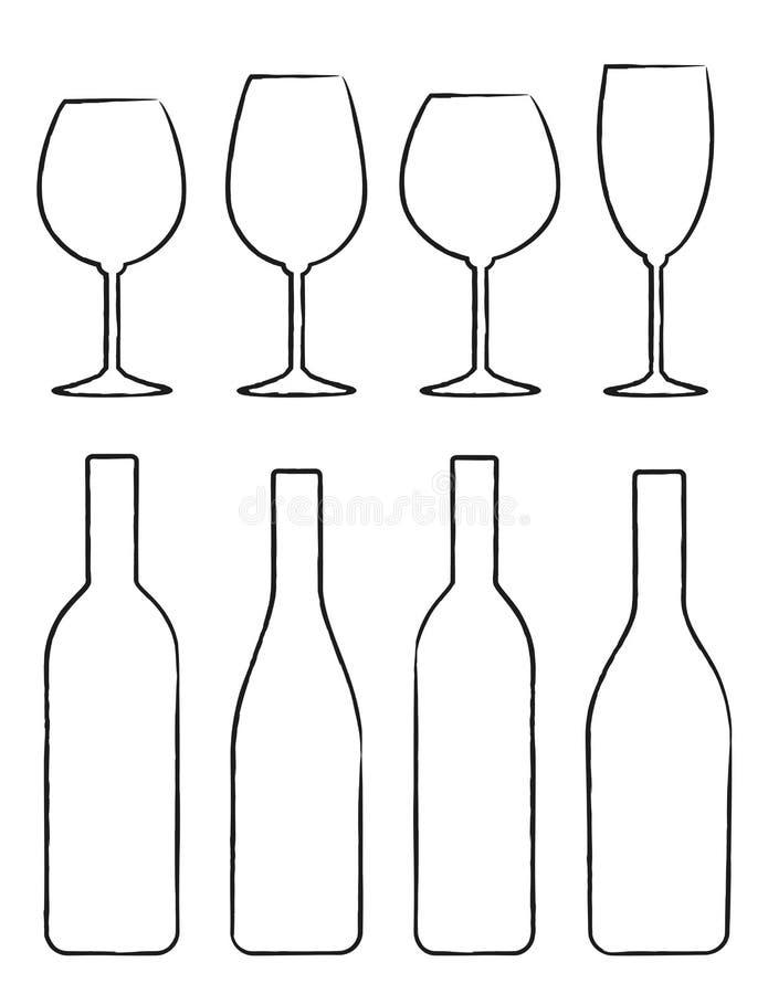 线性套酒瓶和玻璃图片