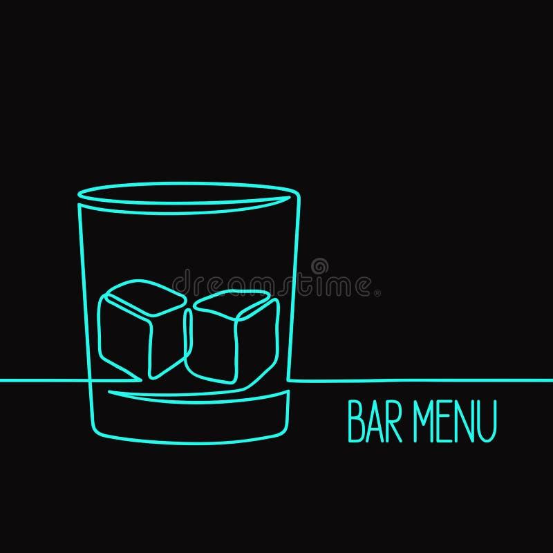 线性威士忌酒玻璃例证 库存照片
