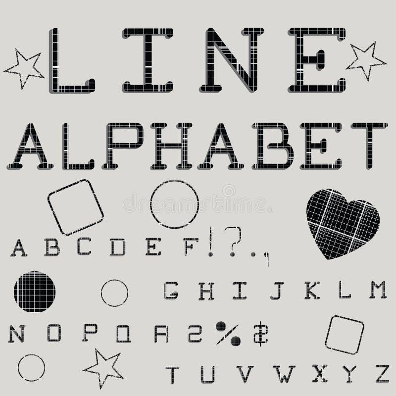 线性字母表 打印的字体 几何模式 库存例证