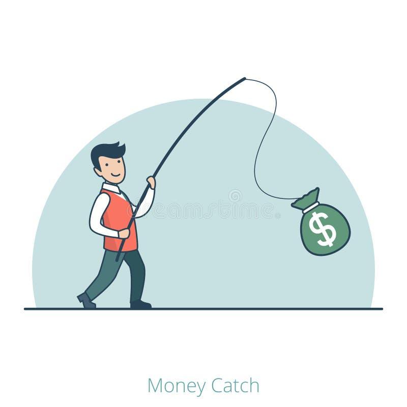 线性平的商人捉住了金钱袋子标尺 皇族释放例证
