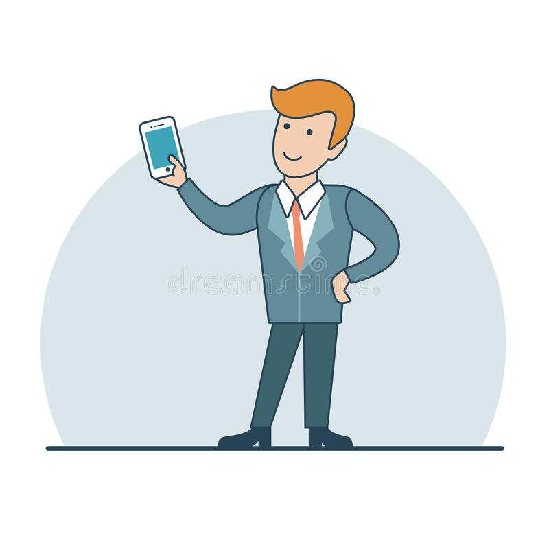 线性平的商人智能手机selfie录影 向量例证