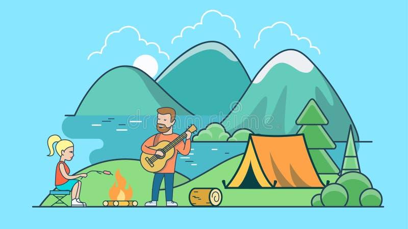 线性平的帐篷海滩湖山countr 皇族释放例证