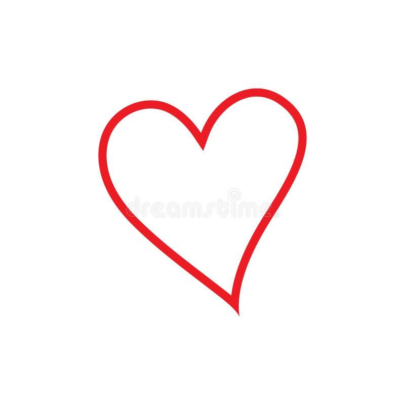 线性心脏象,导航线性象稀薄的红线 E 向量例证