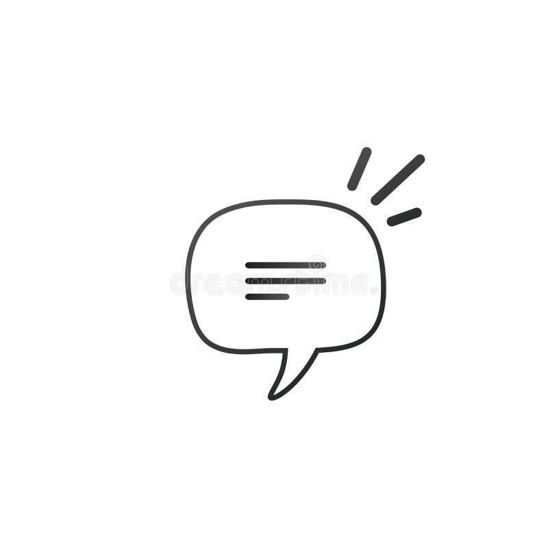 线性手绘语音气泡、矩形畸变圆和方坯时尚形状 在白色上隔离的矢量图 向量例证