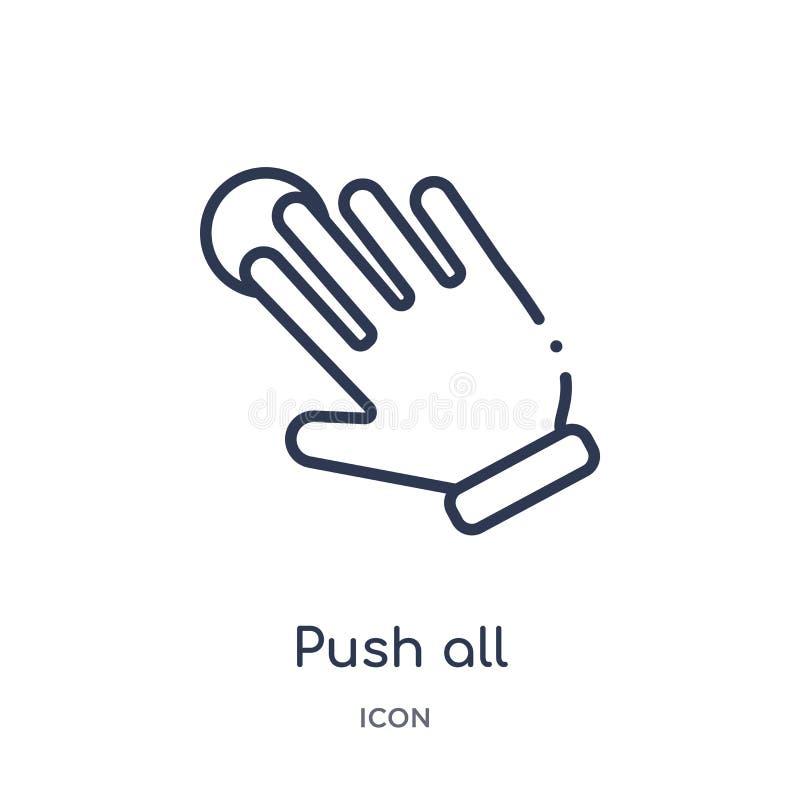 线性推挤扩展从手和guestures概述汇集的象的所有手指 稀薄的线推挤扩展象的所有手指 库存例证