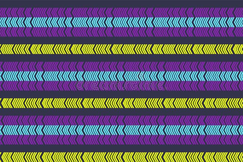 线性斯堪的纳维亚无缝的样式 E 与时髦颜色的抽象minimalistic装饰品 现代样片 平的backgr 库存例证