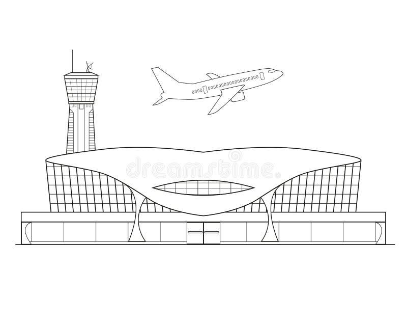 线性机场 皇族释放例证