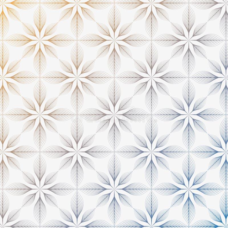 线性样式,重复线性抽象花,梯度改变的颜色 皇族释放例证