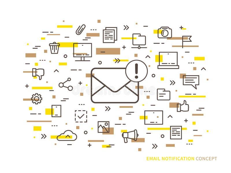 线性电子邮件通知传染媒介例证 皇族释放例证