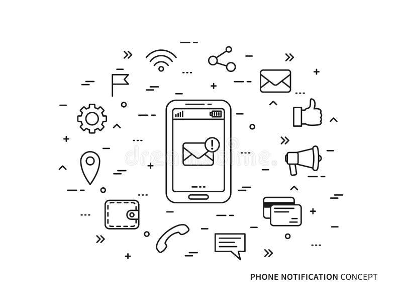 线性电话通知邮件传染媒介例证 皇族释放例证