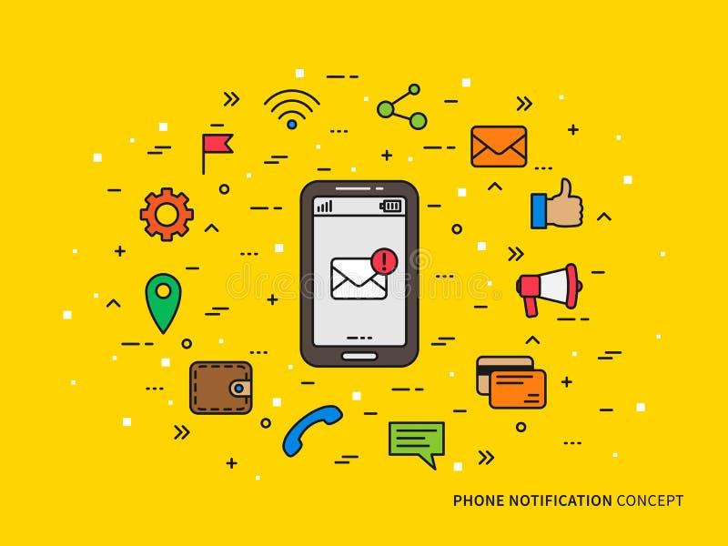 线性电话通知邮件,电话,消息,注意五颜六色的传染媒介例证 皇族释放例证