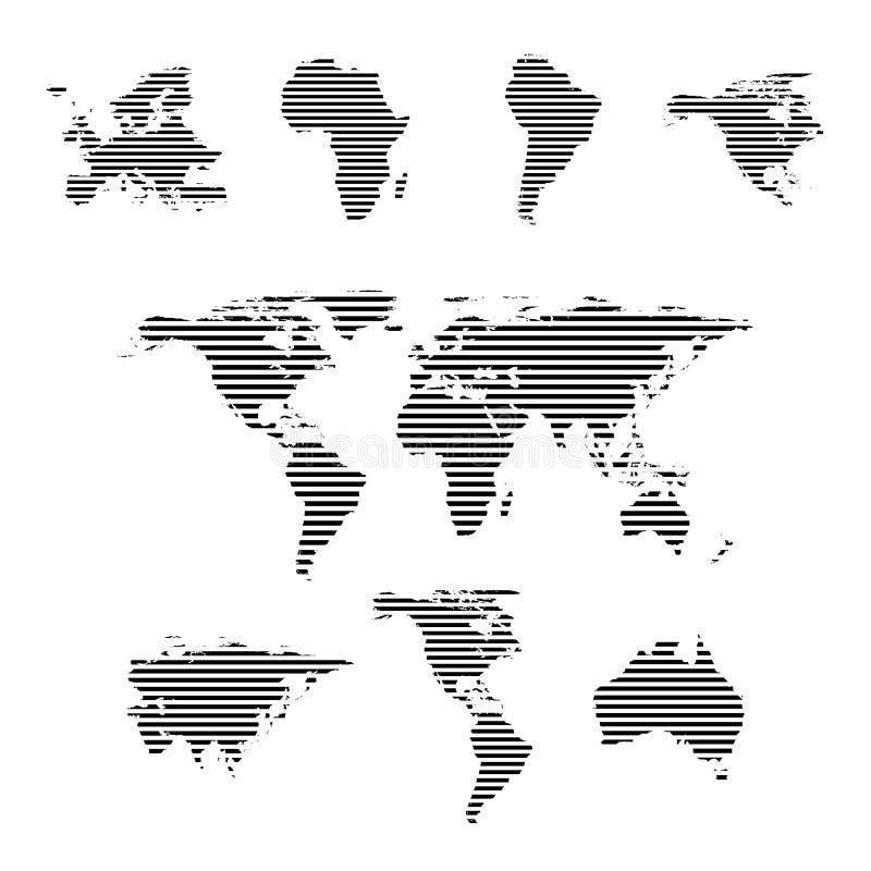 黑线性符号集,在白色,传染媒介例证的世界地图 库存例证