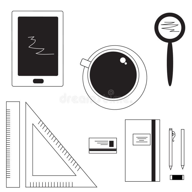 线性艺术办公室 库存例证