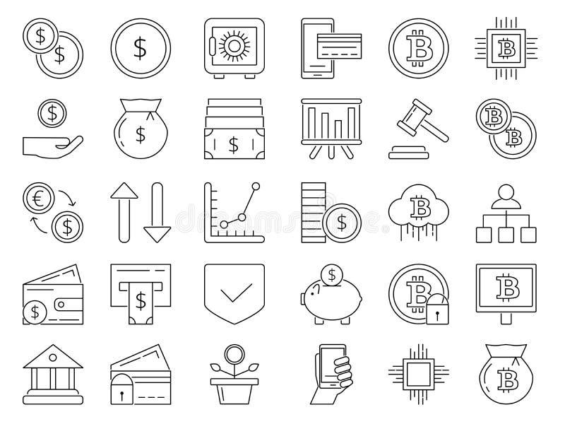 线性象设置了金钱和企业标志 信用卡,硬币 皇族释放例证