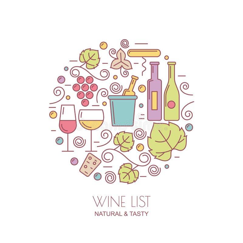 线性酒瓶,玻璃,葡萄树,叶子象 食物和dri 向量例证