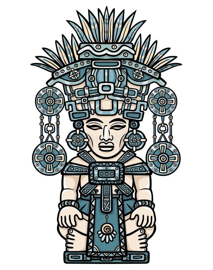 线性颜色图画:印地安神的装饰图象 印地安人玛雅人艺术动机  库存例证