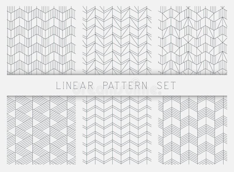 线性黑白几何样式纹理的汇集 库存例证