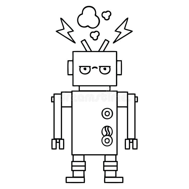 线描动画片发生故障的机器人 向量例证