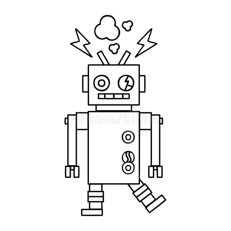 线描动画片发生故障的机器人 库存例证