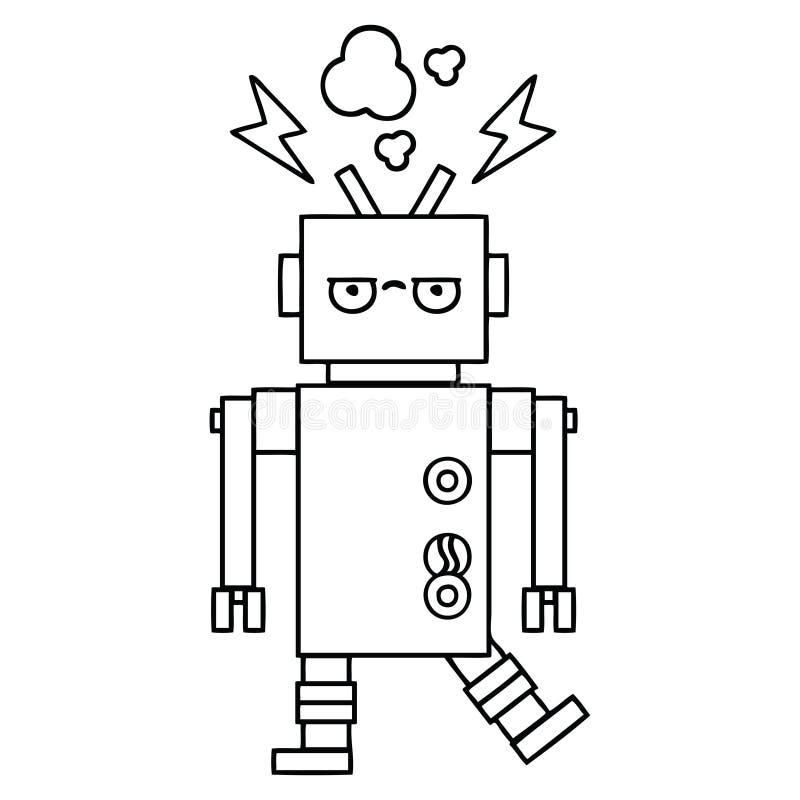线描动画片发生故障的机器人 皇族释放例证