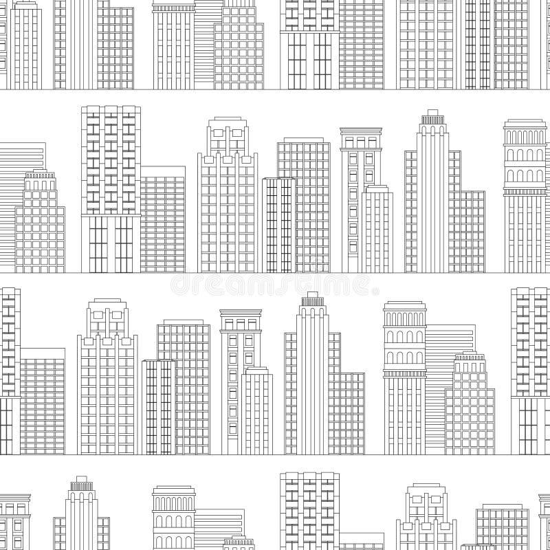 线摩天大楼的无缝的样式 黑色白色 向量例证