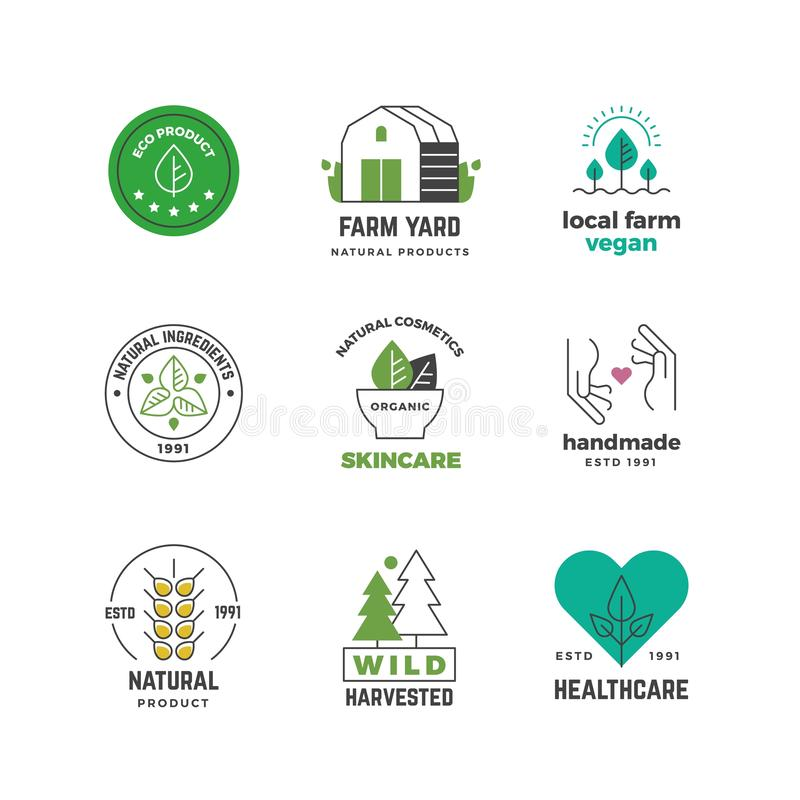 线有机商标 绿色素食主义者商店标签,自然植物素食邮票,餐馆菜单贴纸设计 传染媒介eco 库存例证
