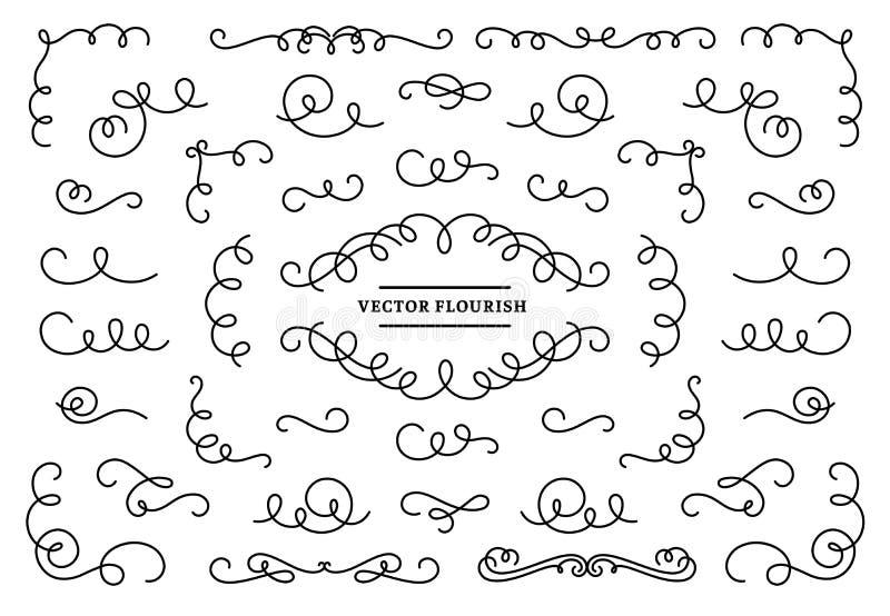 线条华丽的装饰漩涡 Vintage swirl lines, ornamental flourishes devider and retro frame corner vector set 向量例证