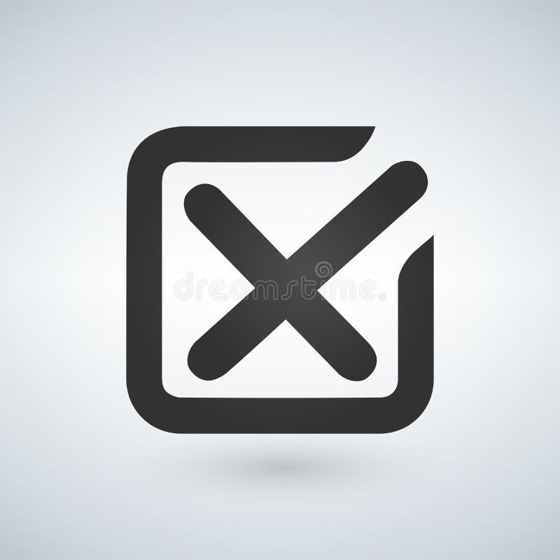 线校验标志或复选框发怒象 在白色背景隔绝的平的样式传染媒介例证 向量例证