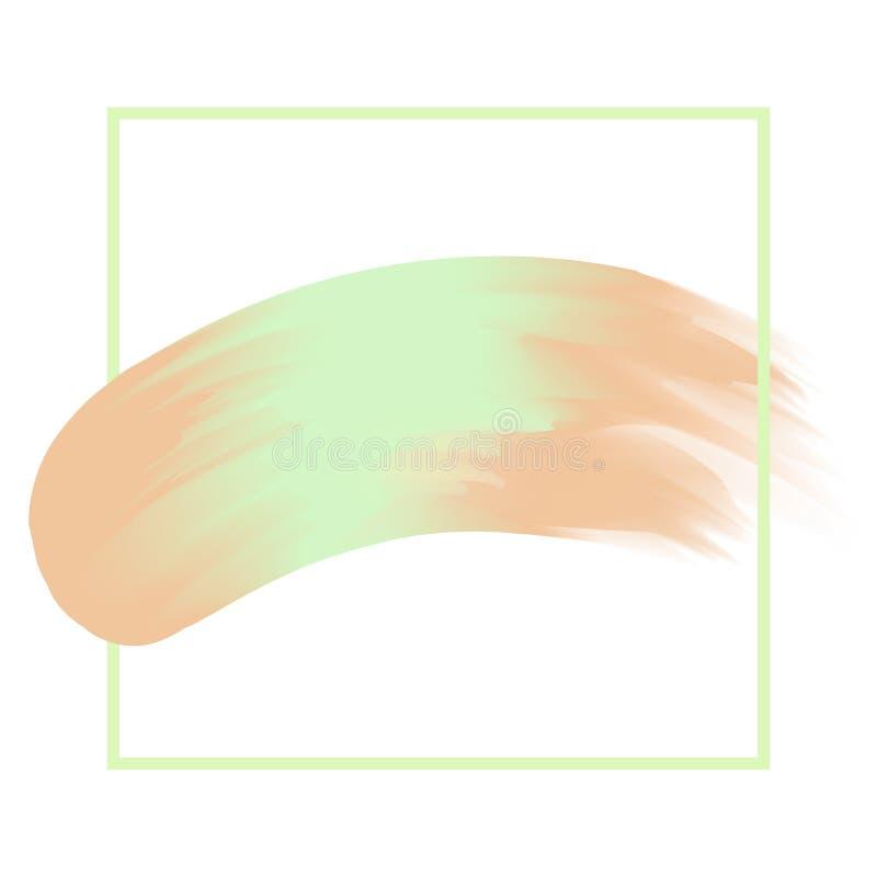 线框架和刷子绘了绿色和棕色水彩背景淡色软,艺术画笔纹理绿色丙烯酸酯的冲程 向量例证