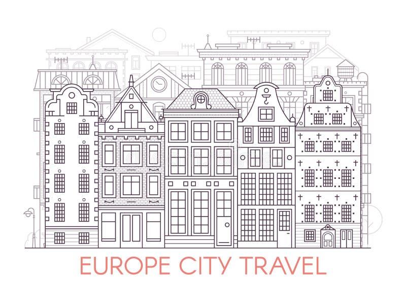 线欧洲市风景 向量例证