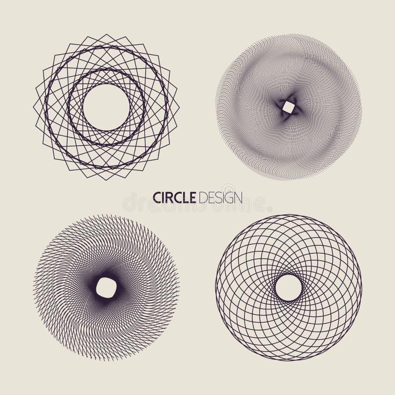 线艺术与神圣的几何设计的圈子集合 皇族释放例证