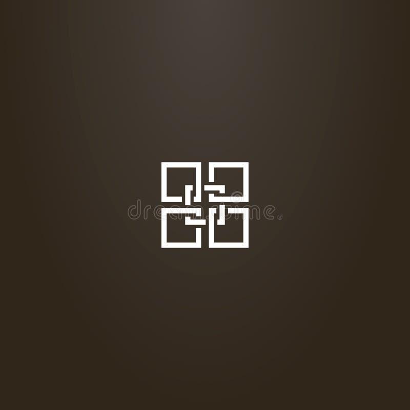 线艺术传染媒介几何标志五个交错的四边形 向量例证