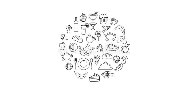 线艺术传染媒介手拉的套食物和饮料动画片乱画对象、标志和项目 圆的构成 皇族释放例证