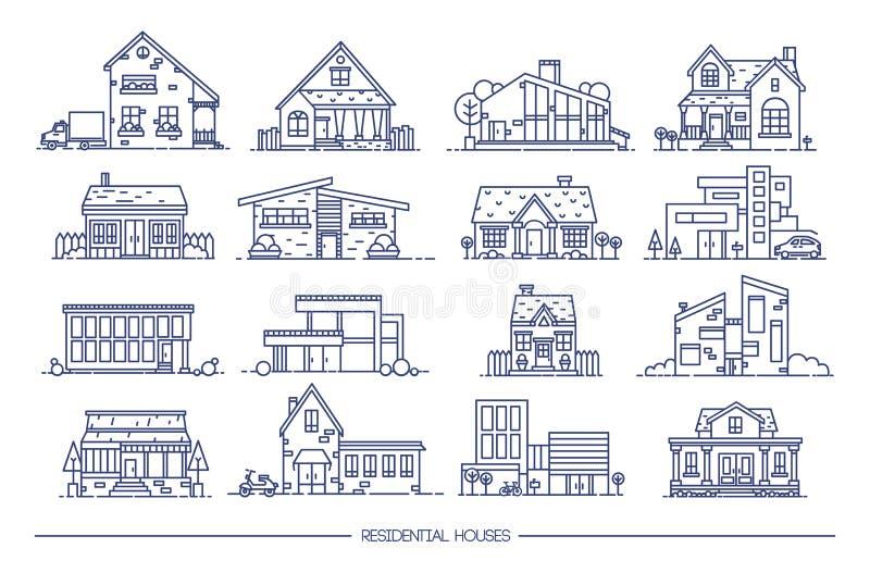 线艺术住宅房子收藏 套平的样式 等高传染媒介例证 向量例证