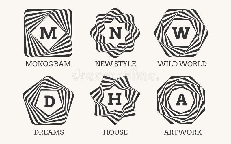 线艺术商标设计或组合图案 向量例证