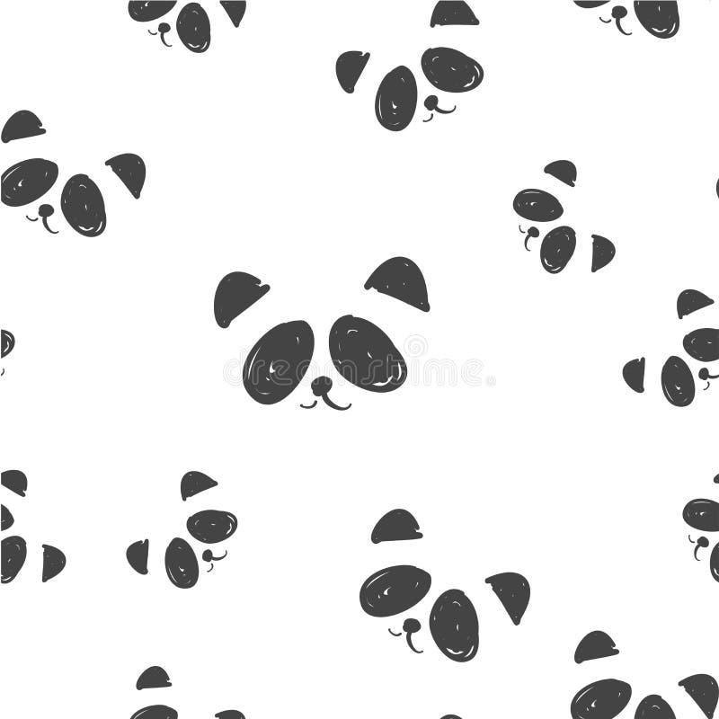 线艺术图表黑白熊猫头无缝的样式,逗人喜爱的熊猫时尚印刷品,包装纸设计 库存例证