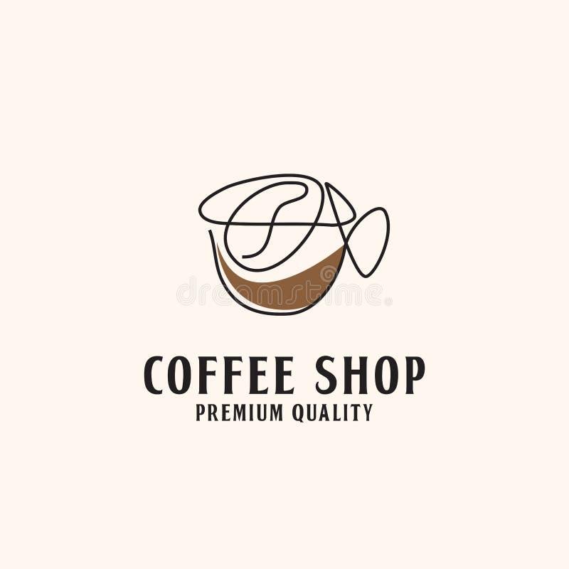 线艺术抽象咖啡馆商标例证 皇族释放例证