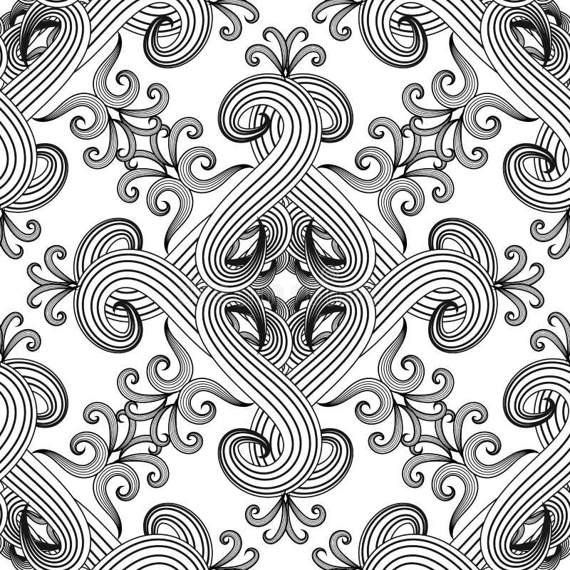 线艺术网眼图案黑白花卉无缝的样式 传染媒介单色抽象背景 手拉种族样式的葡萄酒 向量例证