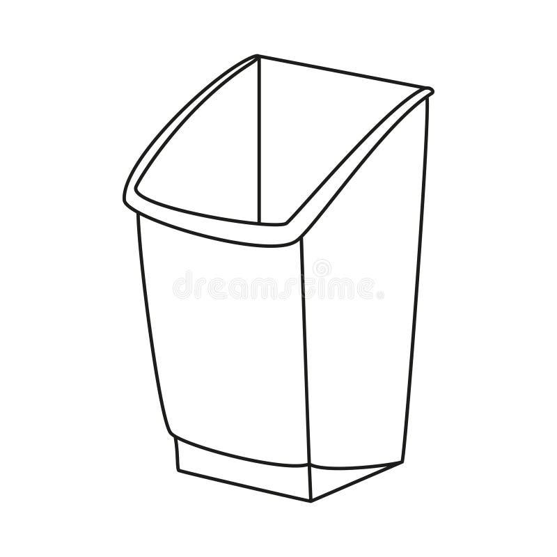 线艺术黑白垃圾桶 皇族释放例证