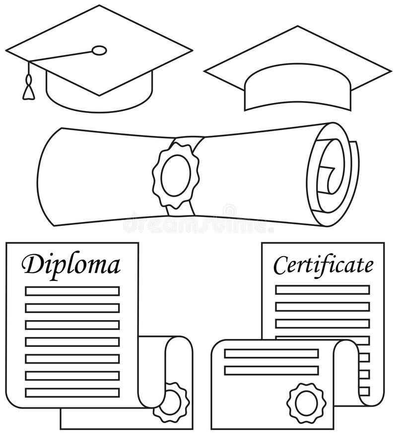 线艺术黑白毕业设置了5个元素 向量例证