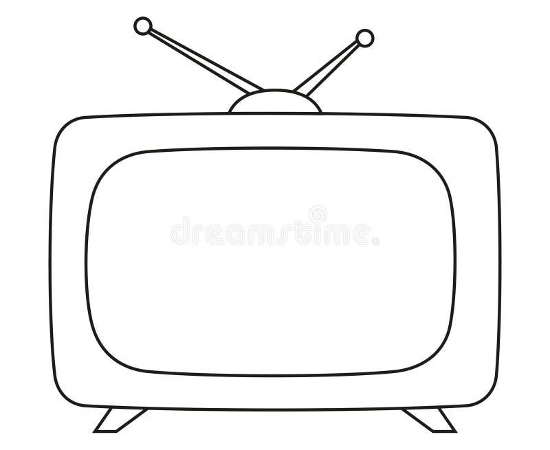 线艺术黑白葡萄酒电视 库存例证