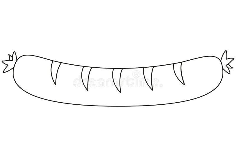 线艺术黑白香肠 库存例证