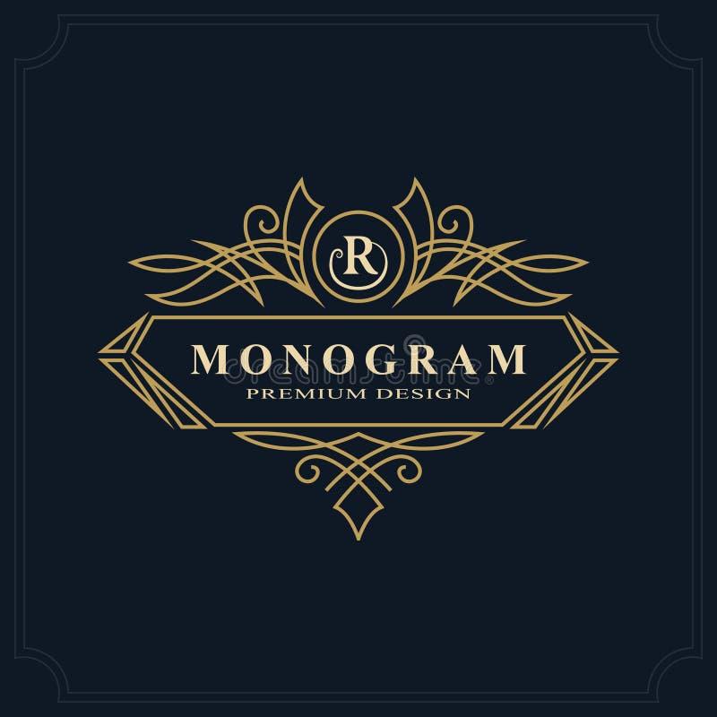 线艺术组合图案豪华设计,优美的模板 书法典雅的美好的商标 信件皇族的象征标志R 库存例证
