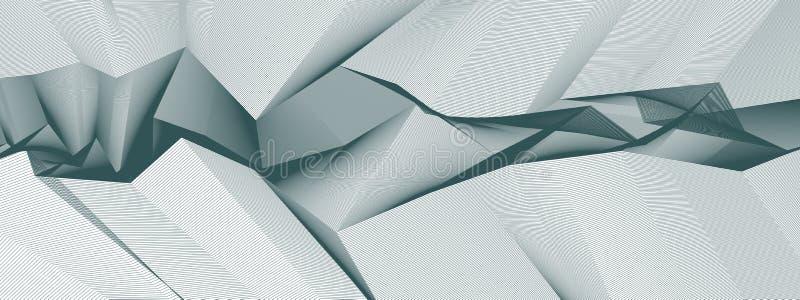线艺术3d摘要与几何线性ter的传染媒介背景 库存例证