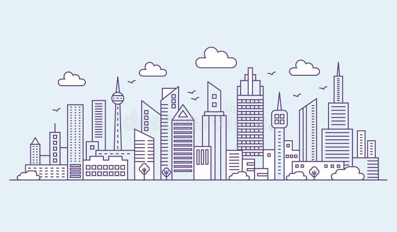 线蓝色背景全景的现代都市大城市 概述都市风景摩天大楼传染媒介例证 向量例证