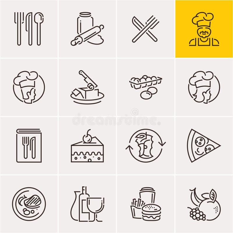 线被设置的食物象,烹调 向量例证