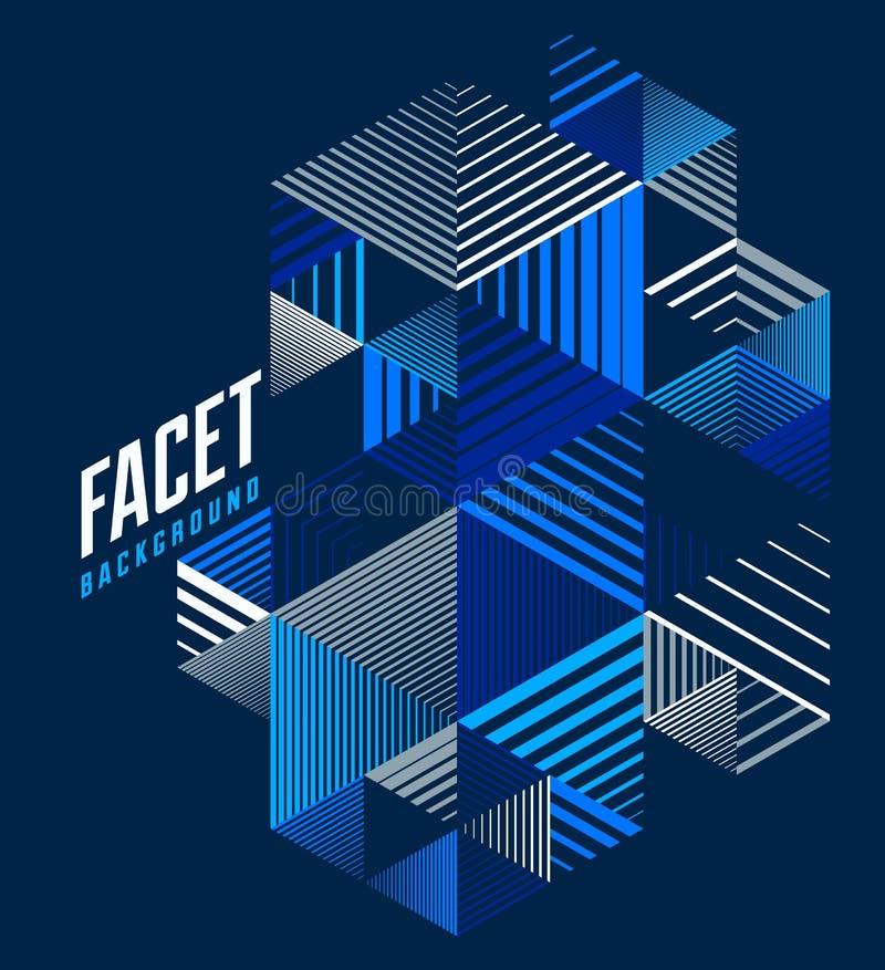线设计3D立方体和三角抽象背景,多角形低多等量减速火箭的样式模板 有条纹的图表元素 向量例证