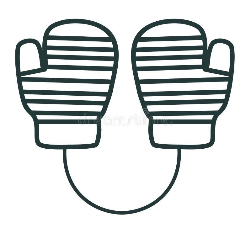 线象手套 着色设备例证滑雪炫耀水 冬天衣裳 库存例证