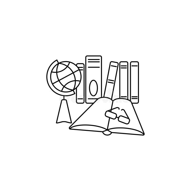 线象 地球、书和玻璃教育,教学,训练 向量例证
